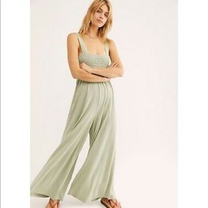 Free People Smocked Homecoming Jumpsuit - XS